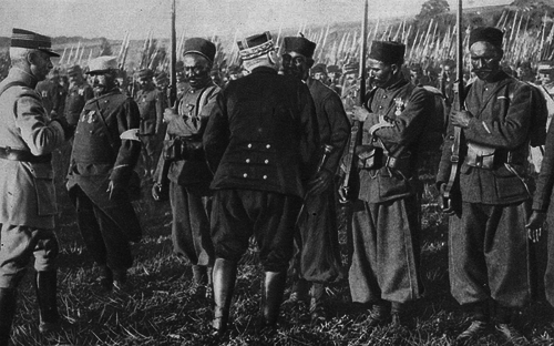 General joffre decorating soldiers of the french moroccan division